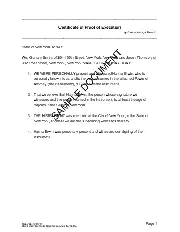 Affidavit of Execution template free sample