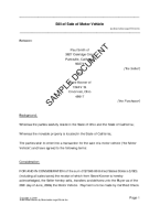 Bill of Sale template free sample