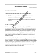 Child Medical Consent (United Kingdom) template free sample
