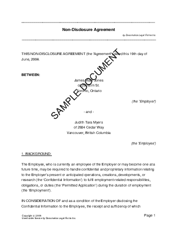 Confidentiality Agreement (Canadian) template free sample