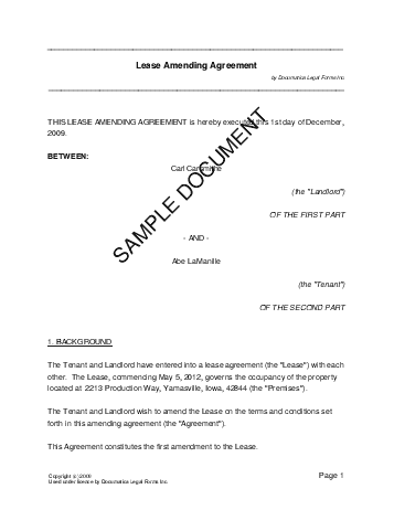 Lease Amending Agreement template free sample