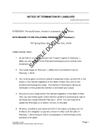 Notice of Termination by Landlord template free sample