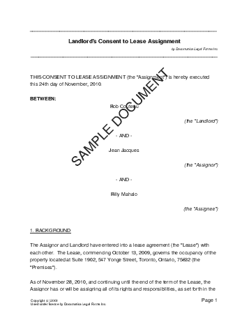 Landlords Consent to Lease Assignment (Canadian) template free sample