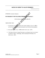 Notice of Intent to Vacate Premises template free sample