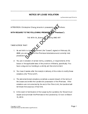 Notice of Lease Violation (Canadian) template free sample