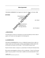 Sales Agreement (Canadian) template free sample