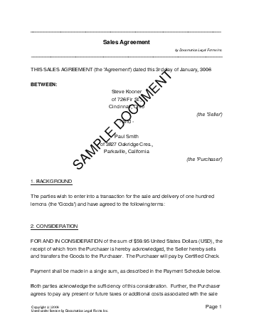 Sales Agreement template free sample