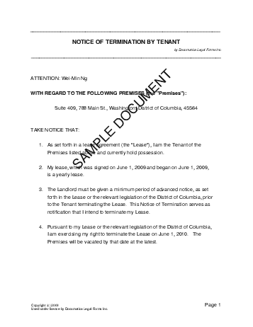 Notice of Termination by Tenant template free sample