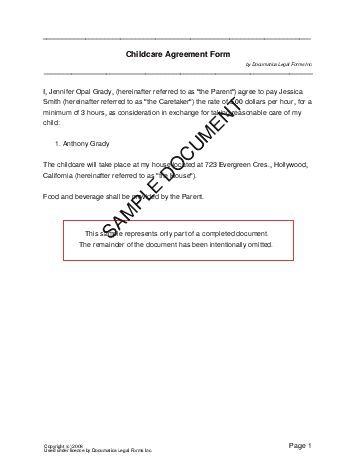 Child Care Agreement template free sample