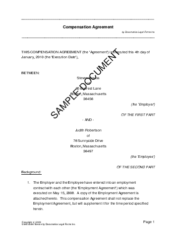 Compensation Agreement template free sample