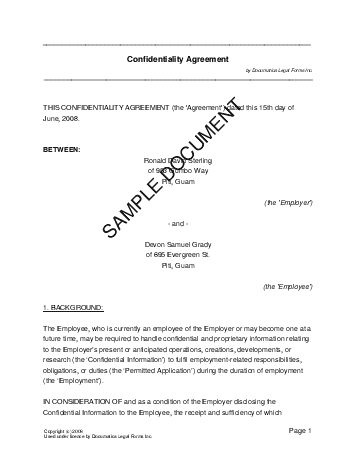 Confidentiality Agreement (US Territories) template free sample