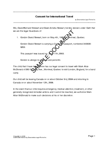 Child Travel Consent (Canadian) template free sample