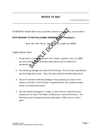 notice to quit letter template