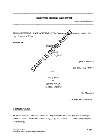 Uk Tenancy Agreement Template Free - Housing lease template free