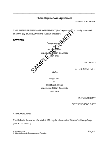 Share Repurchase Agreement (Canadian) template free sample