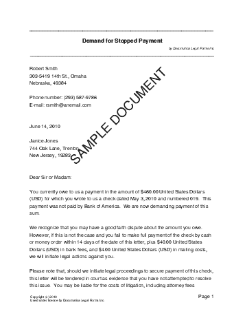 Stop payment letter template demand for stopped payment usa legal templates agreements altavistaventures Image collections