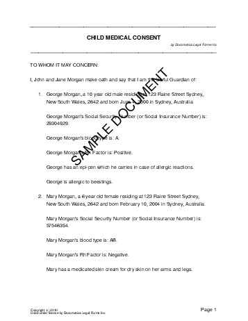 Child Medical Consent Australia Legal Templates
