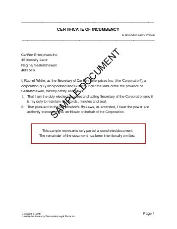 Certificate of Incumbency (Canada) - Legal Templates ...