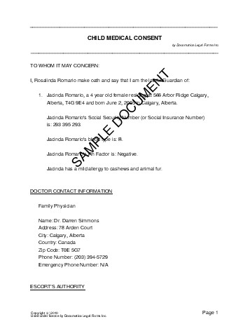 child medical consent form template