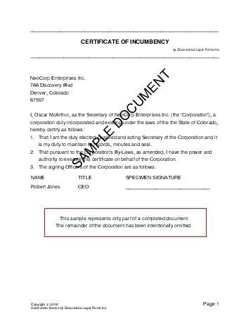 Bill Of Sale Kansas >> Certificate of Incumbency (Mexico) - Legal Templates - Agreements, Contracts and Forms