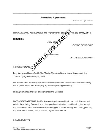 Amending Agreement Us Territories Legal Templates