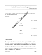 USA Landlords Consent To Lease Assignment