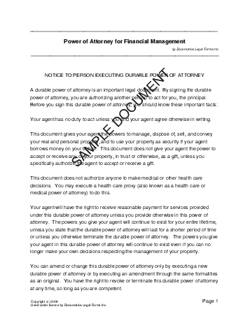 Power of Attorney template free sample