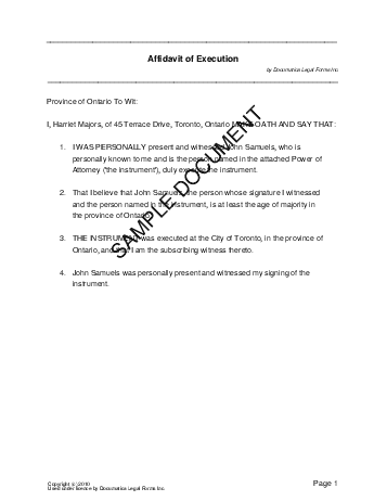 Affidavit Of Execution Canada Legal Templates Agreements - Legal forms canada