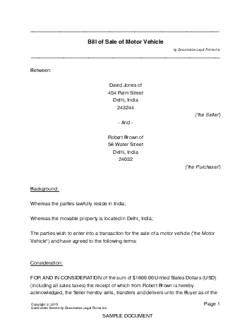Bill Of Sale India Legal Templates Agreements