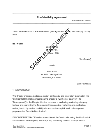 Confidentiality Agreement Template Free Sample