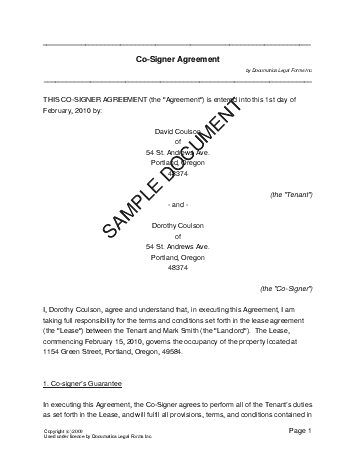 co signer agreement usa legal templates agreements contracts
