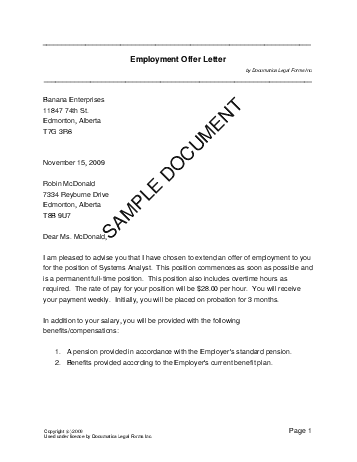 employment offer letter canadian template free sample