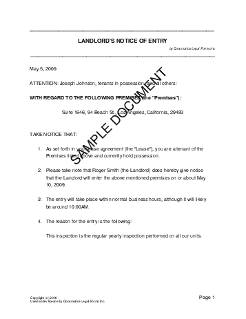 Notice of Entry (Mexico) - Legal Templates - Agreements, Contracts and Forms