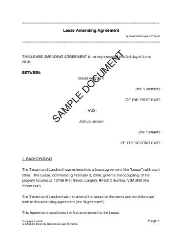 Lease Amending Agreement Canada Legal Templates Agreements