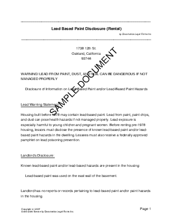 Lead Paint Disclosure template