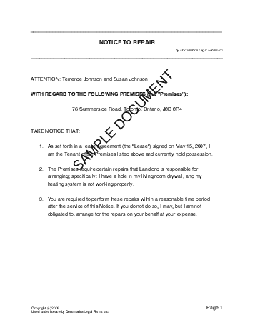 Notice To Repair Canada Legal Templates Agreements Contracts - Legal documents canada