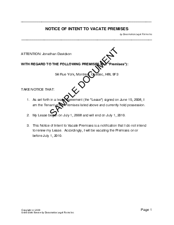notice of intent to vacate premises canadian template free sample