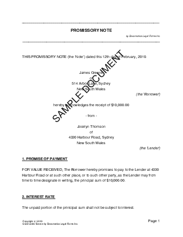 Promissory Note Australian Template Free Sample