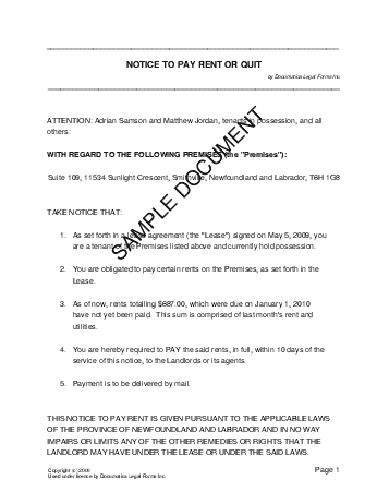 notice to pay rent or quit template - notice to pay rent canada legal templates agreements