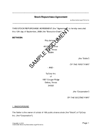 Share Repurchase Agreement
