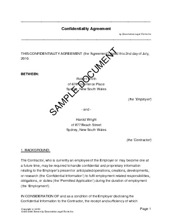 Confidentiality Agreement Australia Legal Templates Agreements