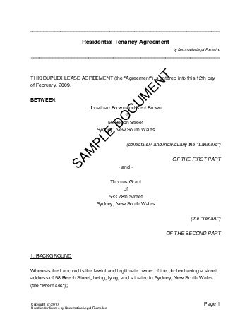 Residential RentalLease Australia  Legal Templates  Agreements