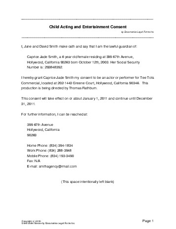 Free Child Acting Consent (Brazil) - Legal Templates - Contracts