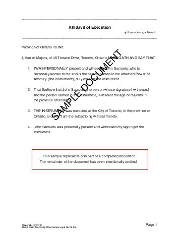 Affidavit of Execution (Canada) - Legal Templates - Agreements ...