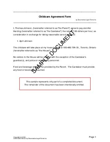 Free Child Care Agreement Canada  Legal Templates  Contracts