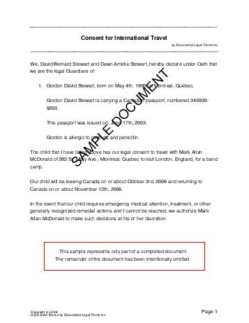 Child Travel Consent (Canada) - Legal Templates - Agreements