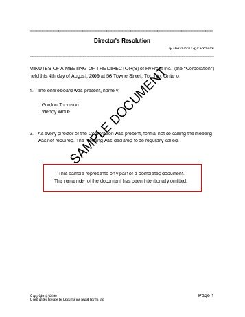 Directors Resolution (Canada) - Legal Templates - Agreements