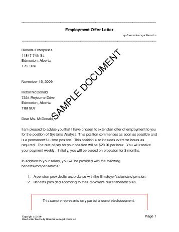 Employment Offer Letter Canada Legal Templates Agreements