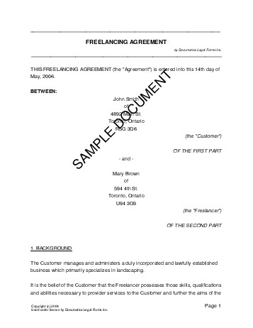 Freelancing Agreement Canada Legal Templates Agreements