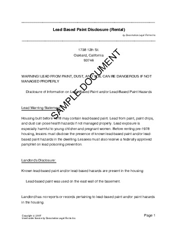 Lead Paint Disclosure (Canada) - Legal Templates - Agreements ...